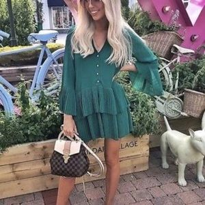 238b440b Zara Dresses | Blogger Fav Green Pleated Blouse Mini Dress | Poshmark